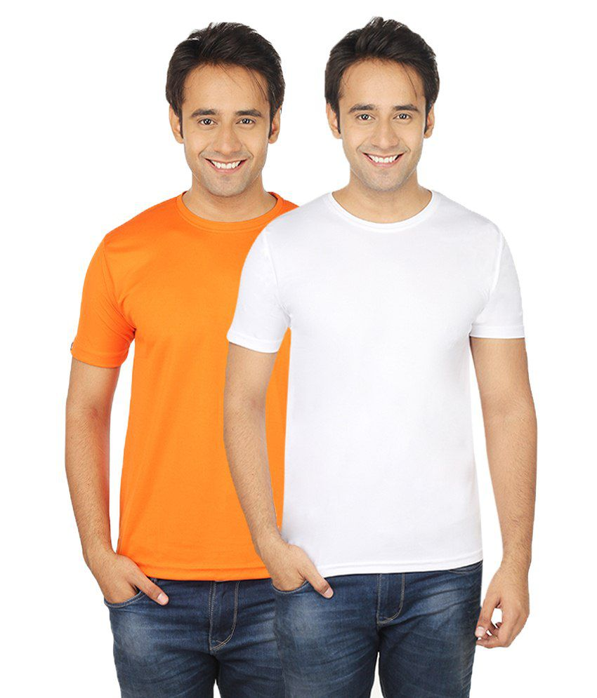Quetzal.Com Orange & White Polyester T-Shirt Pack Of 2