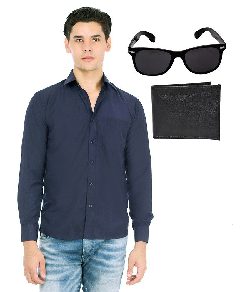 Unique Blue Formal Shirt With Sunglasses & Wallet
