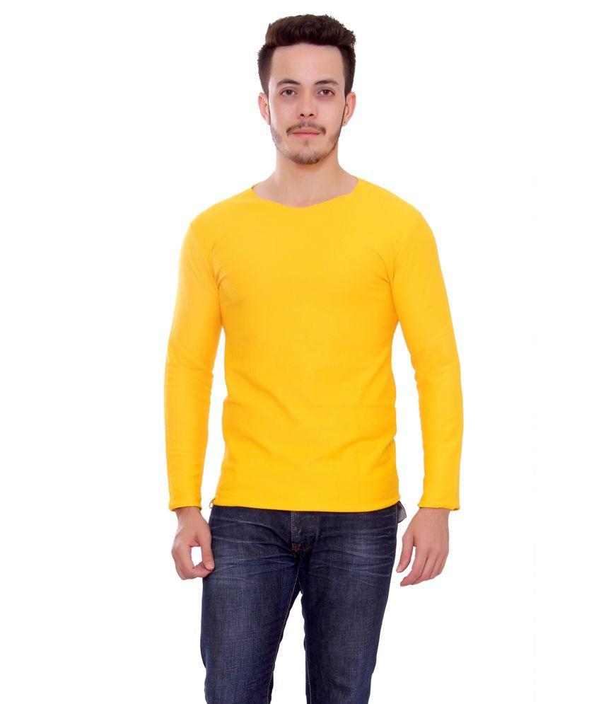 Stylum Men'sBranded yellowt interlock Cool stylish PRE woolen T-shirt