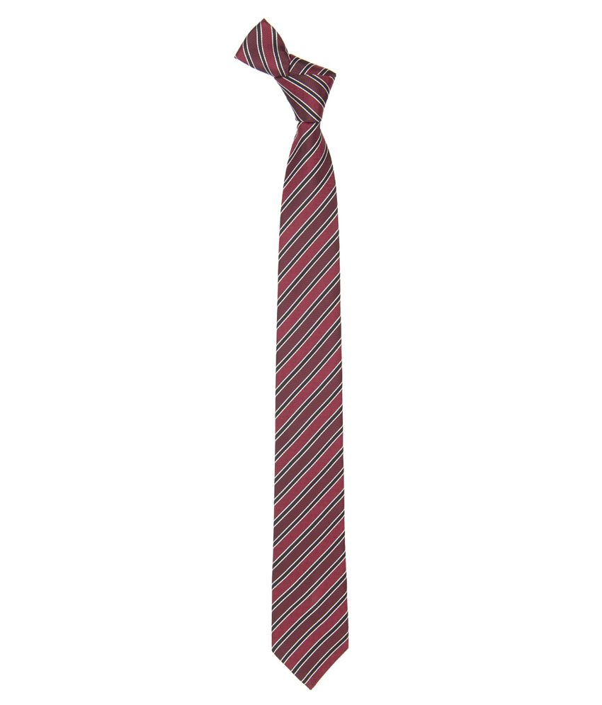 Vermello Maroon Stripes Micro Fibre Formal Necktie