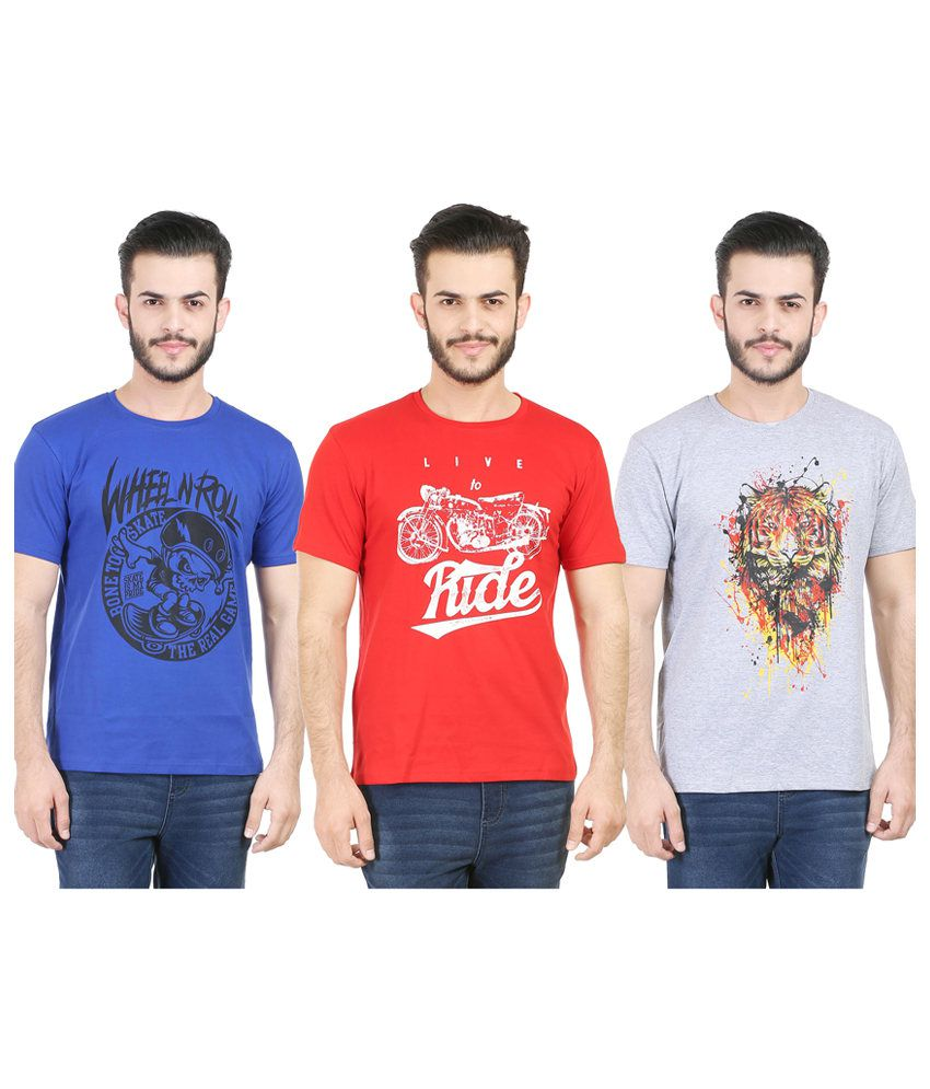 Tribal Bull Cotton Printed Men's T-Shirts (Pack of 3)