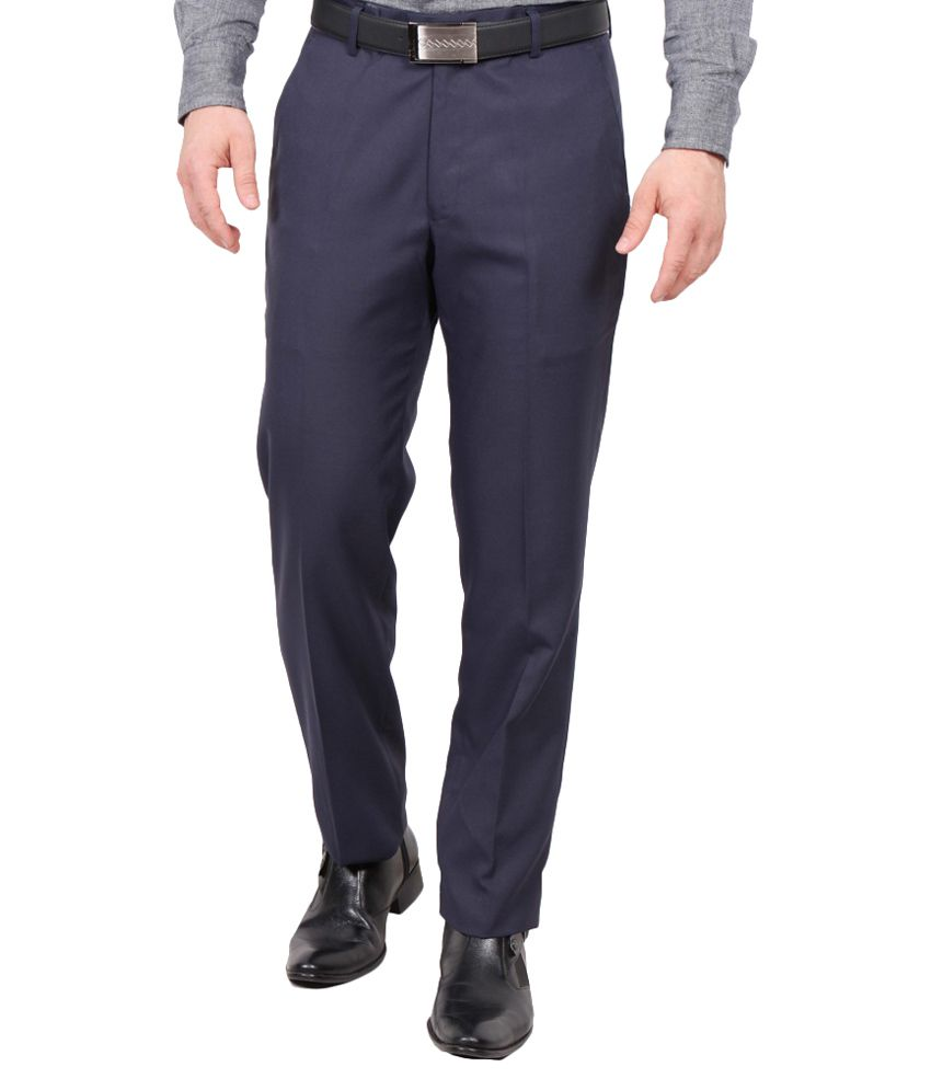 Rich Perk Navy Blue Regular Fit Formal Flat Trouser