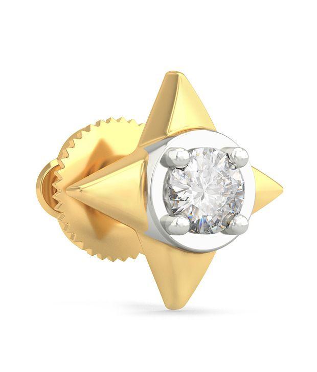 Bluestone 18 Kt Gold & Diamond Eclat Mens Stud Earrings