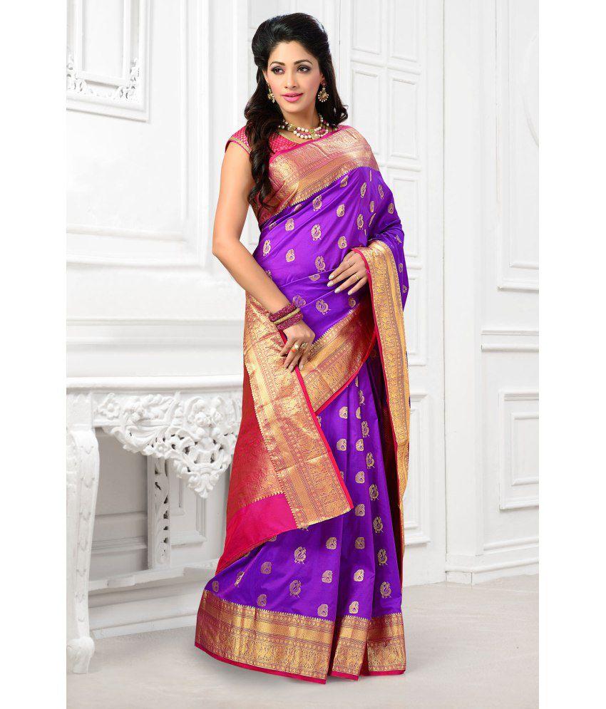 923f075e0ce687 Samyakk Purple and Golden Art Silk Kanchipuram Saree with Blouse Piece - Buy  Samyakk Purple and Golden Art Silk Kanchipuram Saree with Blouse Piece  Online ...