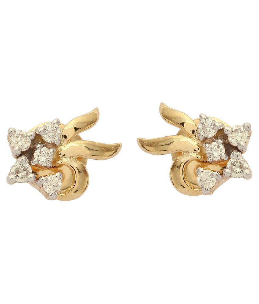 Avaran 14kt Gold Diamond Stud Earrings 100% Certified - Combo of 2
