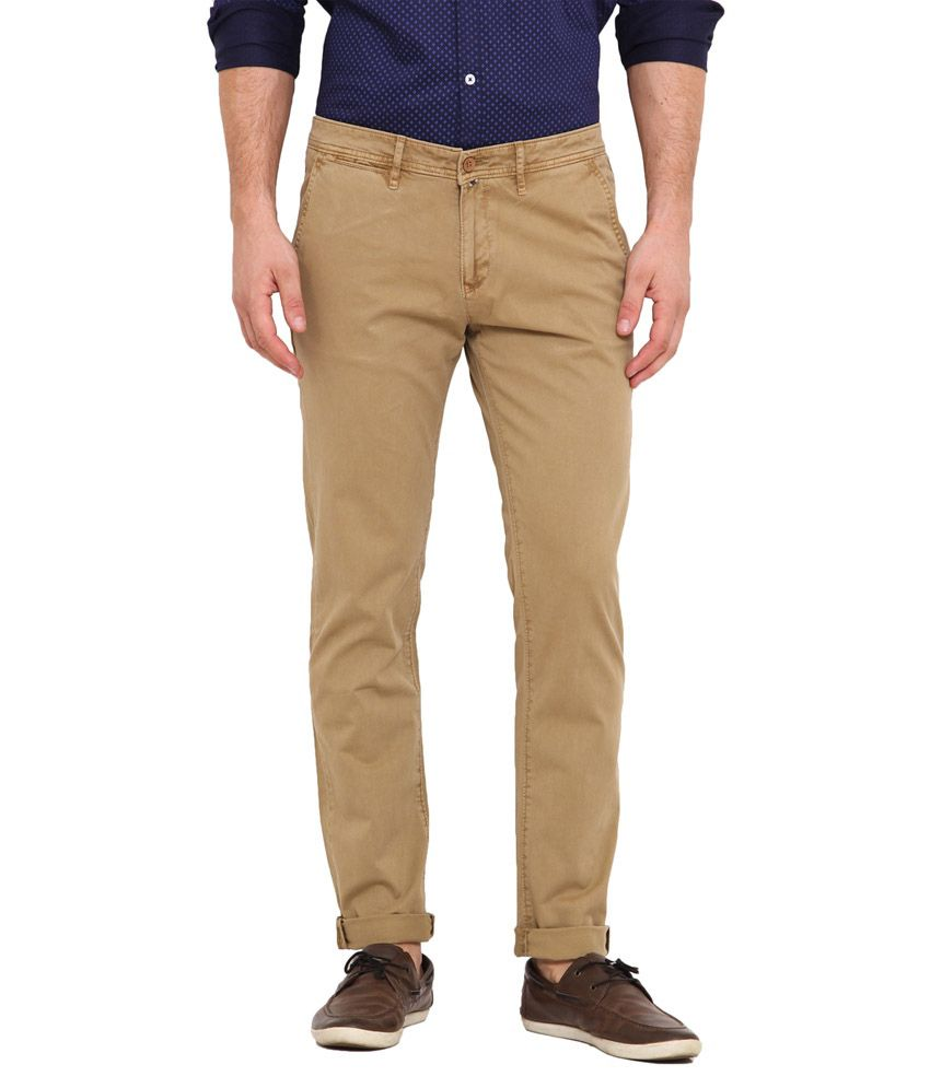 Dais Beige Slim Fit Casual Chinos