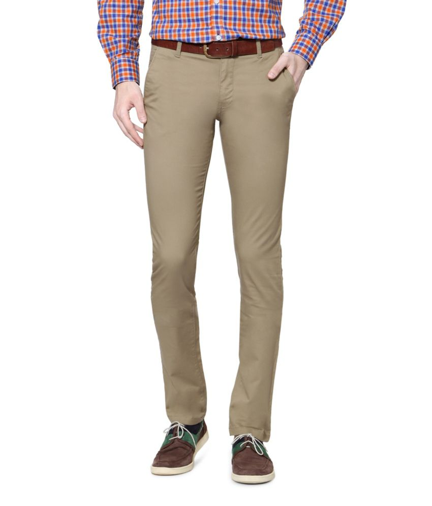 Allen Solly Khaki Blended Cotton Chinos