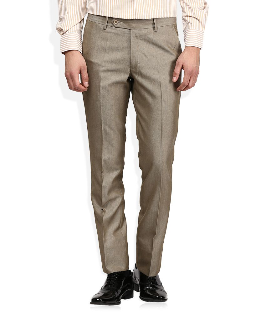 John Players Brown Solid Pleated Front Trousers