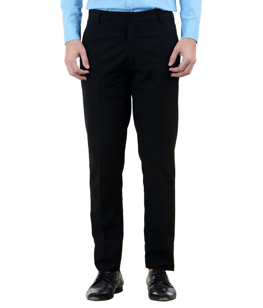 Le suzaki Black Poly Blend Regular Fit Trouser- Pack Of 2