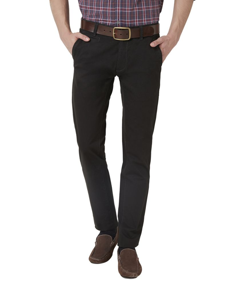 Peter England Black Blended Cotton Flat Trousers