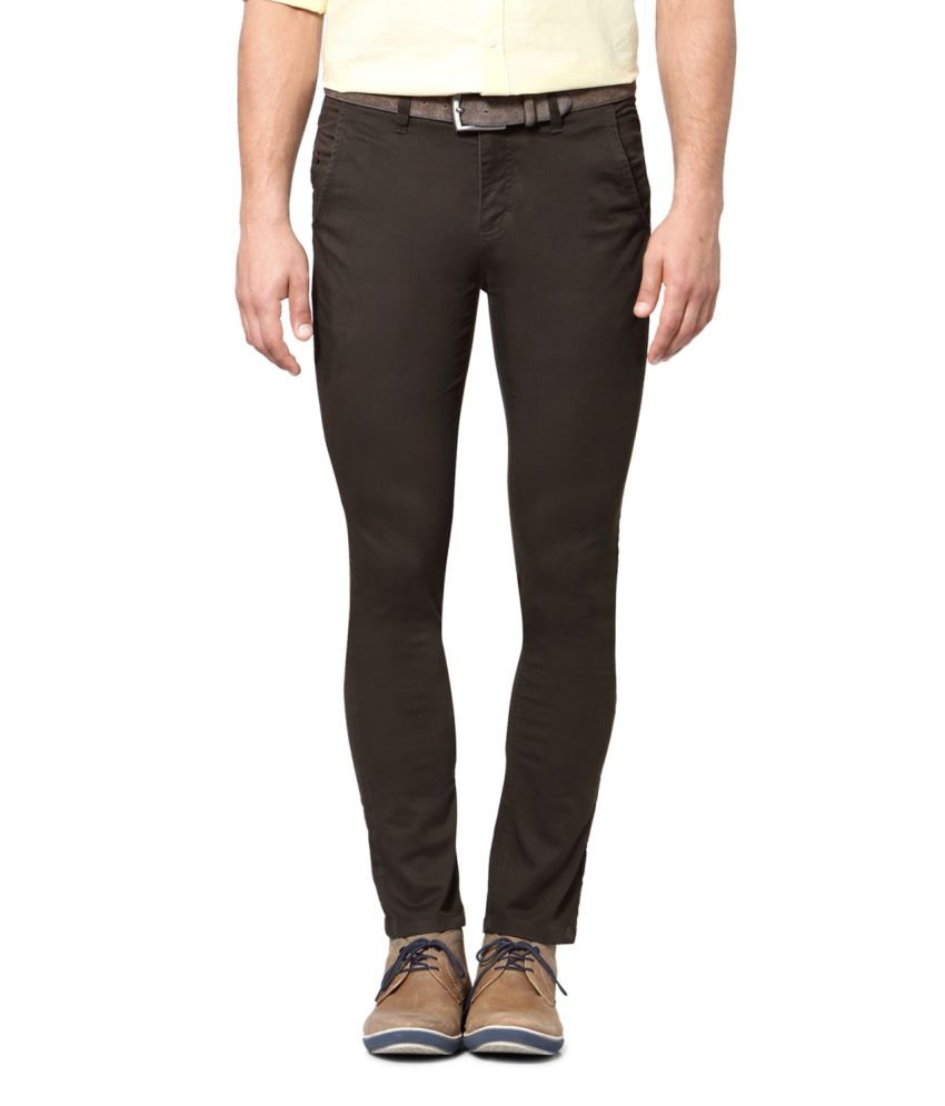 Van Heusen Brown Blended Cotton Chinos