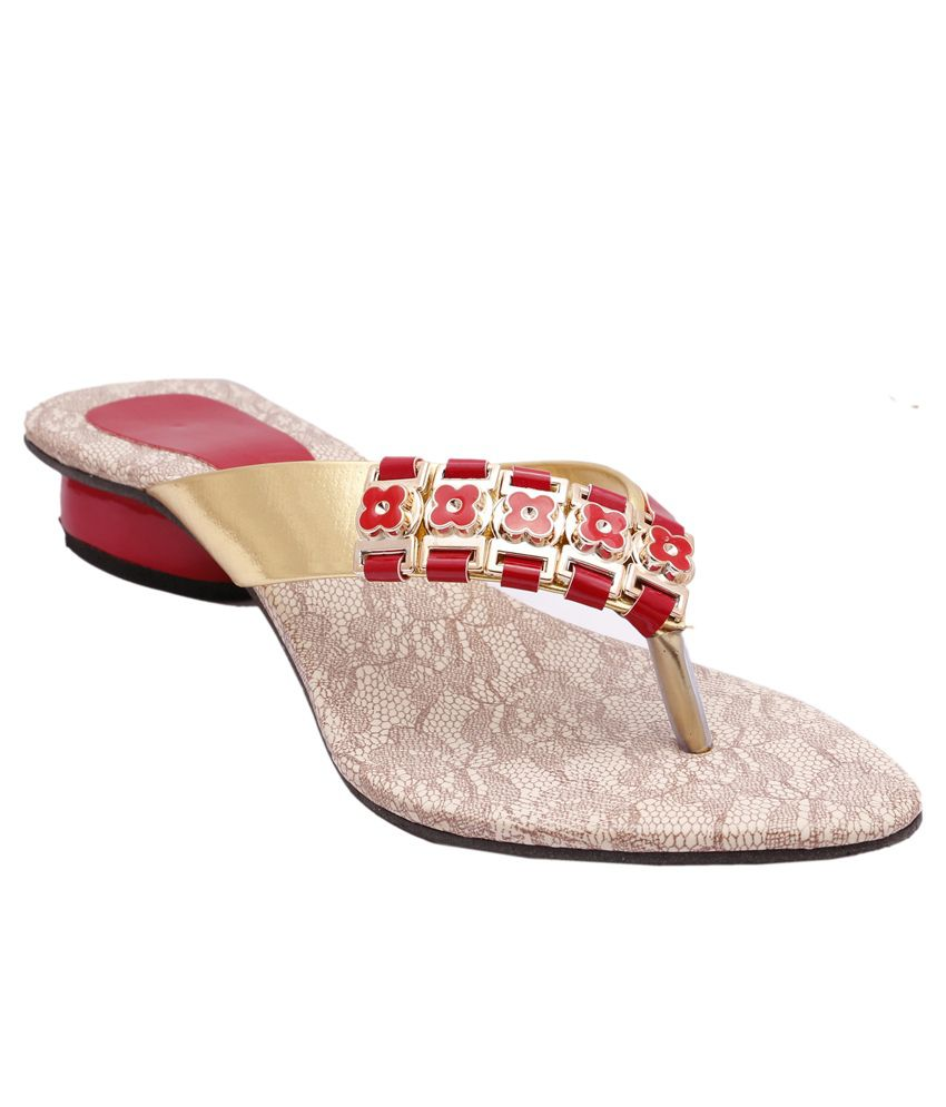 Stellar Collections Red And Gold Block Sandals
