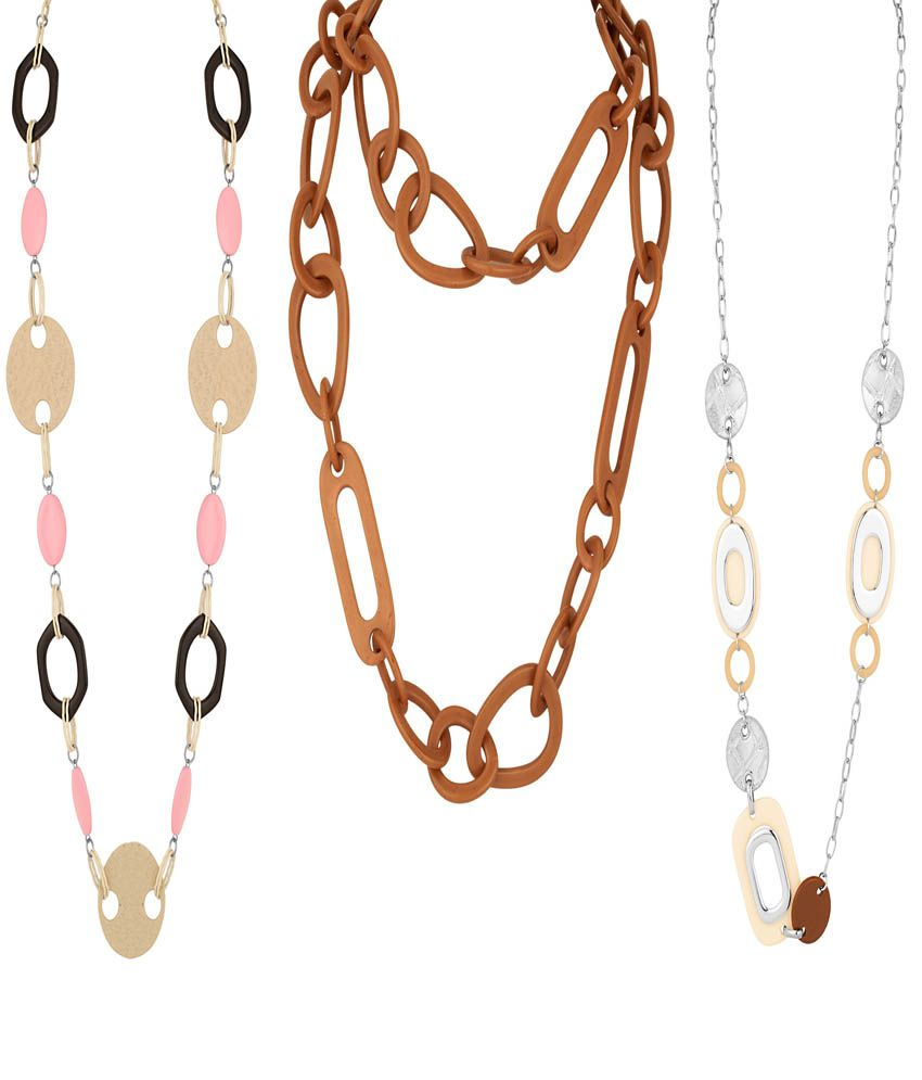 Aaradhya Multicolor Designer Wear Necklace - Pack Of 3