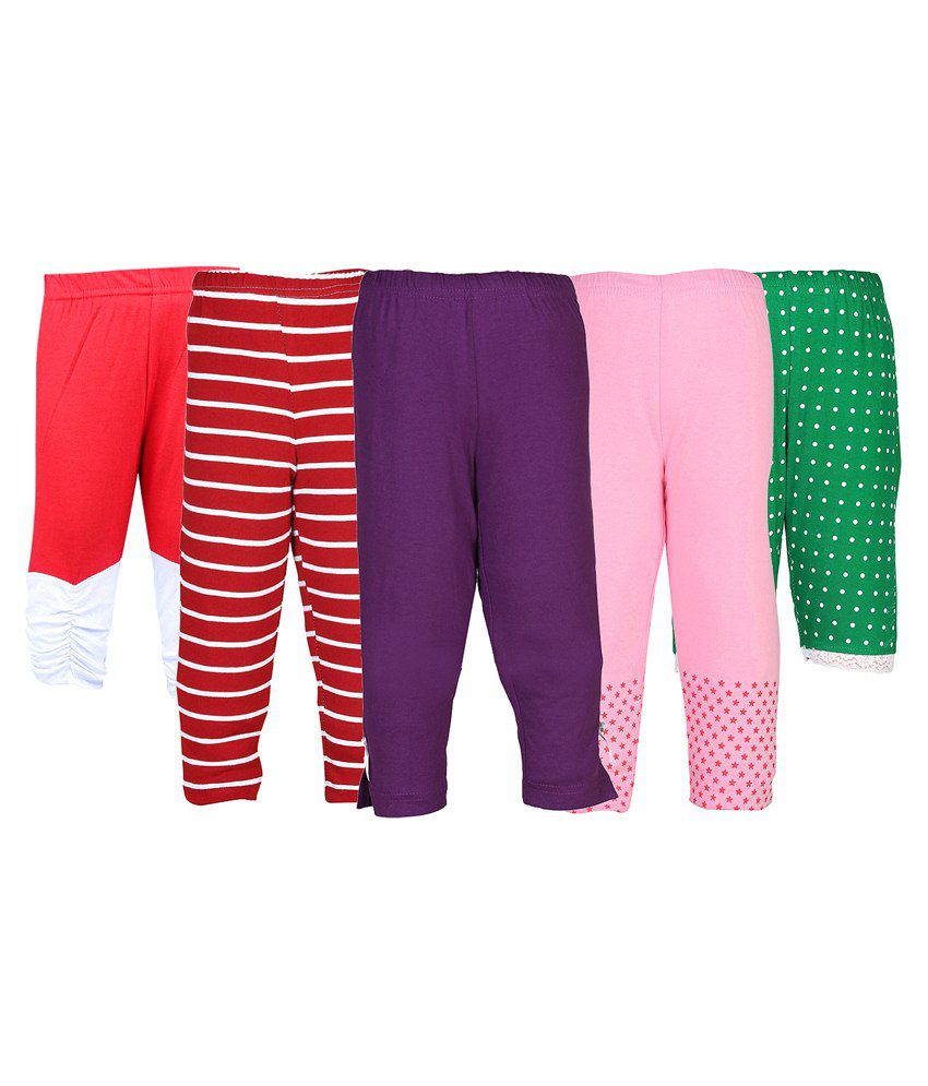 Gkidz Multicolour Capris For Girls Pack Of 5