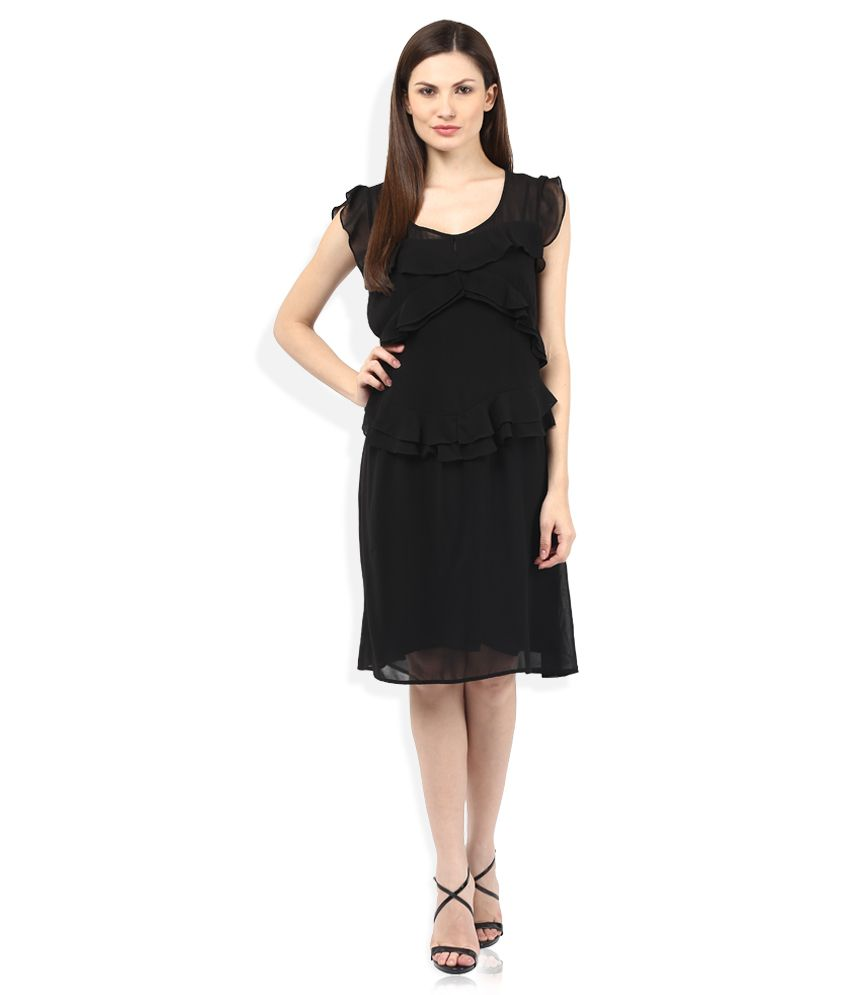 181fdd2803c Sisley Black Ruffle Dress - Buy Sisley Black Ruffle Dress Online at Best  Prices in India on Snapdeal