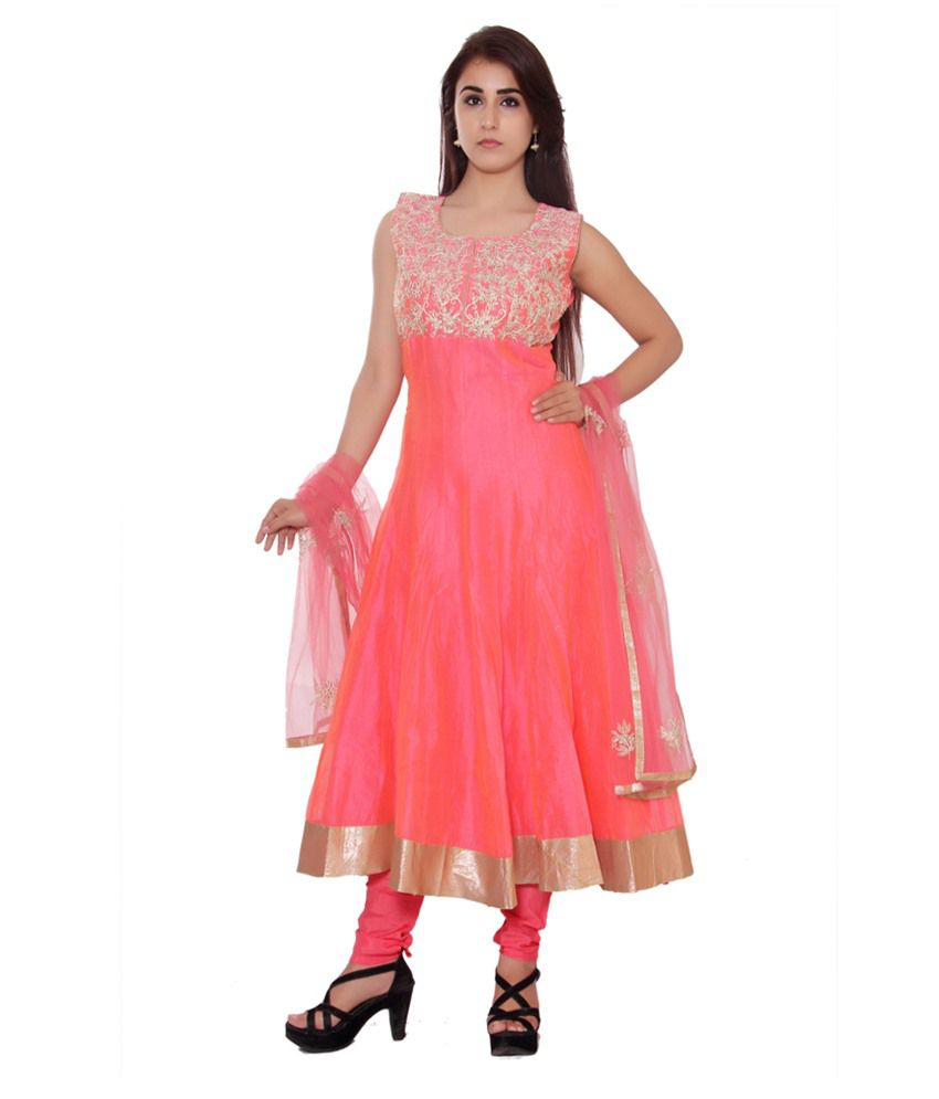 Style Junction Peachpuff Chanderi Stitched Suit