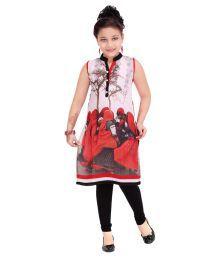 Jazzup Red Cotton Blend Salwar Suit