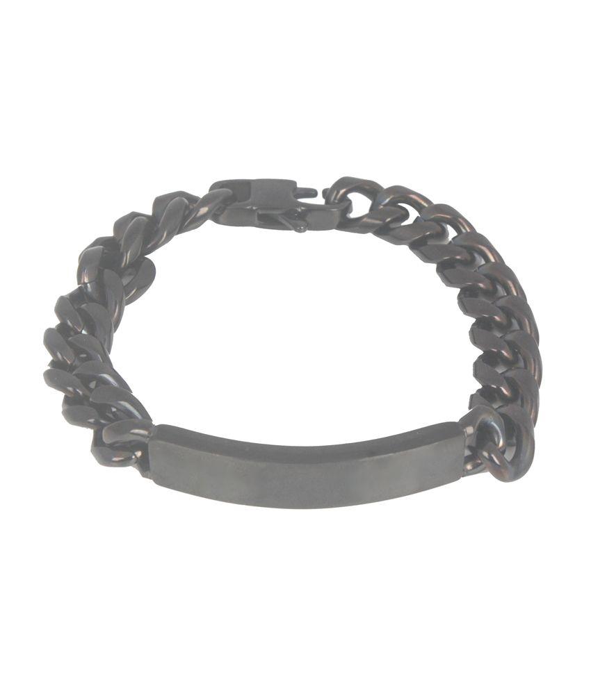 The Jewelbox Black Stainless Steel Geometrics Bracelet