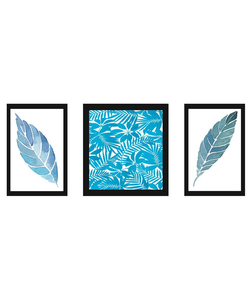 Wow Interiors And Decors Blue Leaves Paintings With Frame