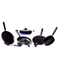 Khushi Blue & Black Stainless Steel Non-Stick Cookware Set Of 10