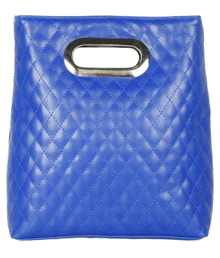 Anekaant Duvet Blue PU Hand-Held Bag