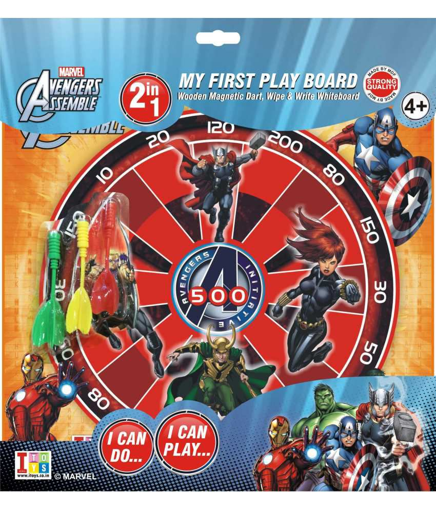 Disney Avengers Metallic Wooden Dart Game With Wooden Write And Wipe Whiteboard