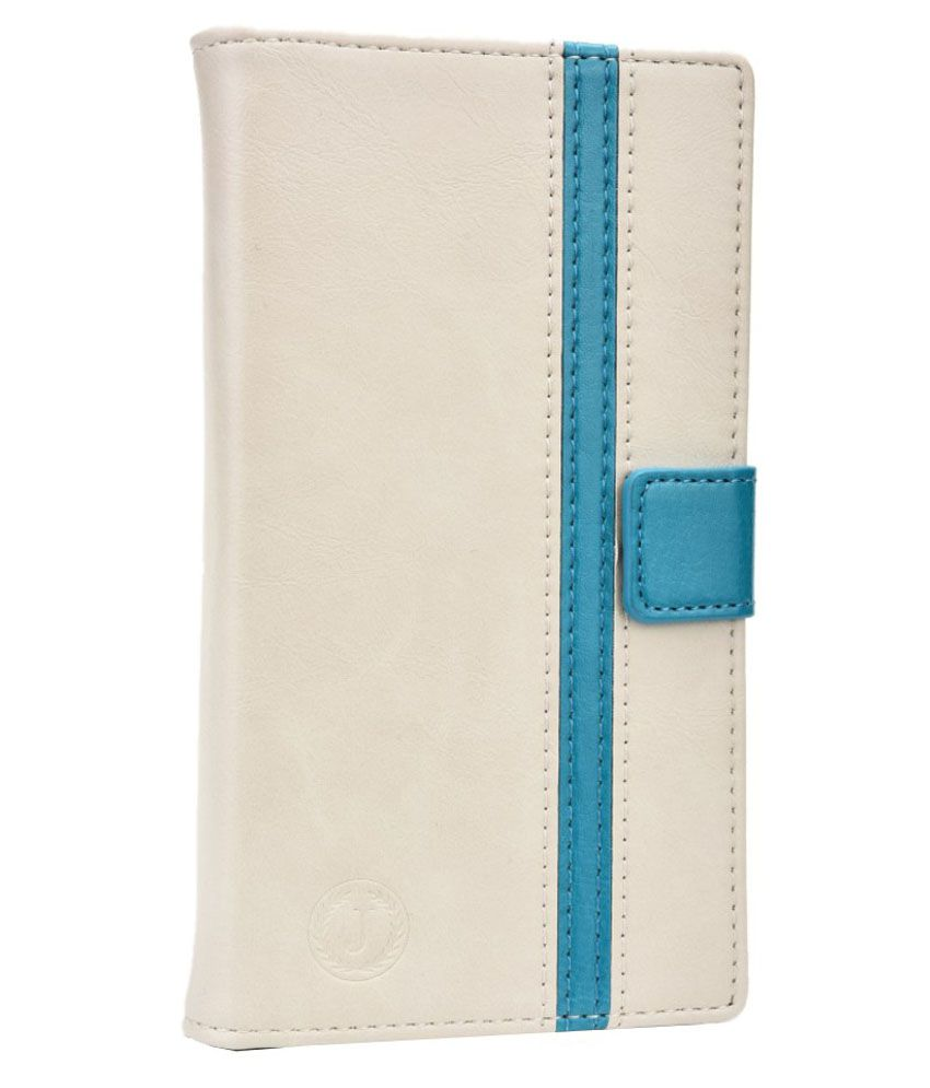 Jo Jo Flip Cover For Spice Stellar Mi 509-White & Blue