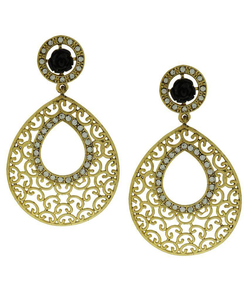 DG Jewels Black Austrian Diamond Designer Hanging Earrings