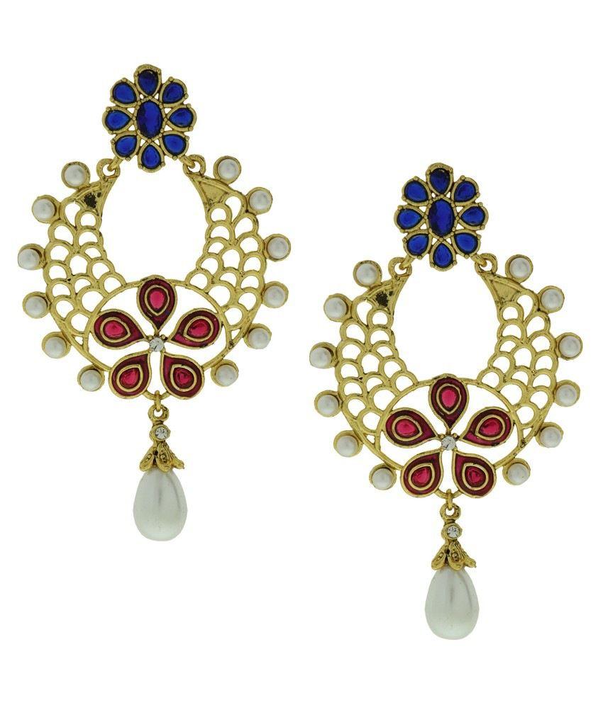 DG Jewels Multicolour Coloured Bead Designer Hanging Earrings