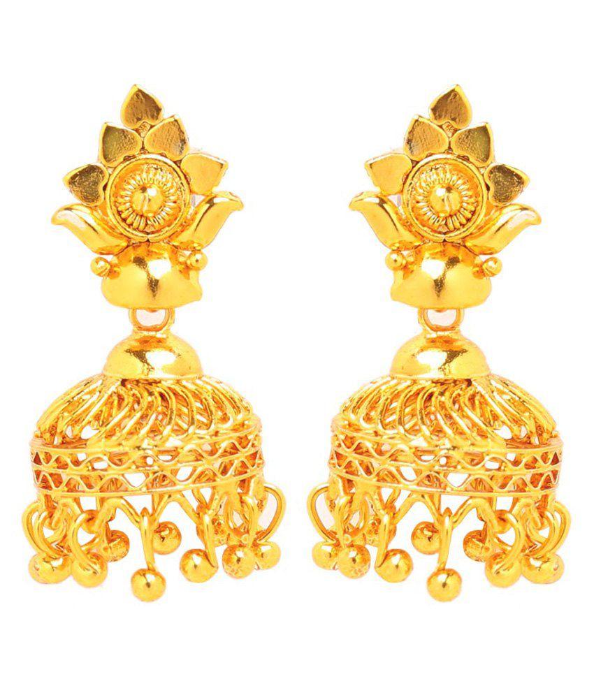 GoldNera Golden Floral Jhumkis