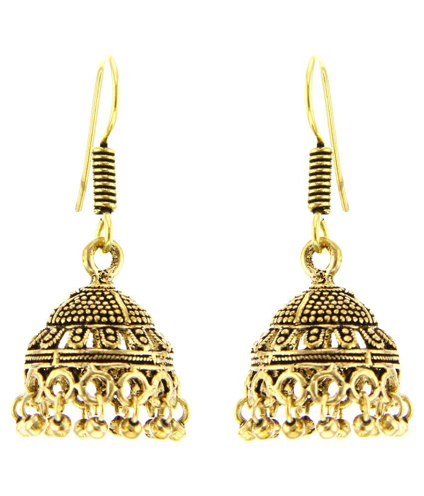 Kaizer Jewelry Golden German Silver Jhumkis