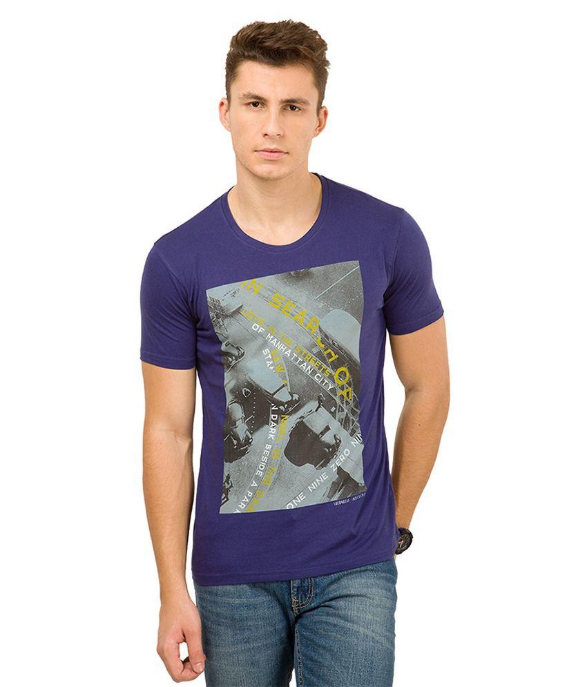 Locomotive Navy Printed Round Neck T-Shirt