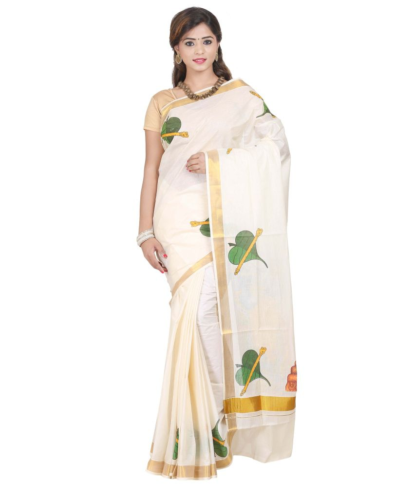 Fashion Kiosks White and Beige and Green Kasavu Cotton Saree with Blouse Piece