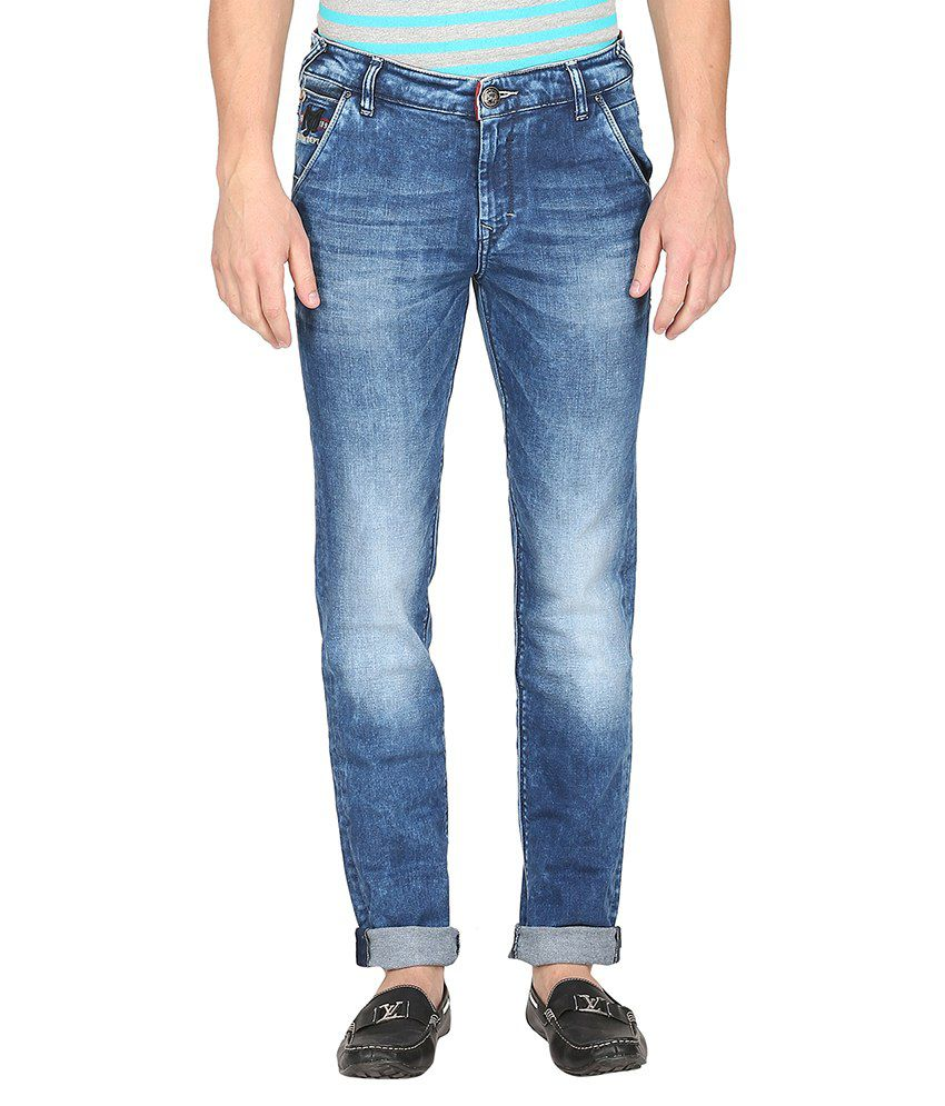 Mufti Blue Light Wash Slim Fit Jeans