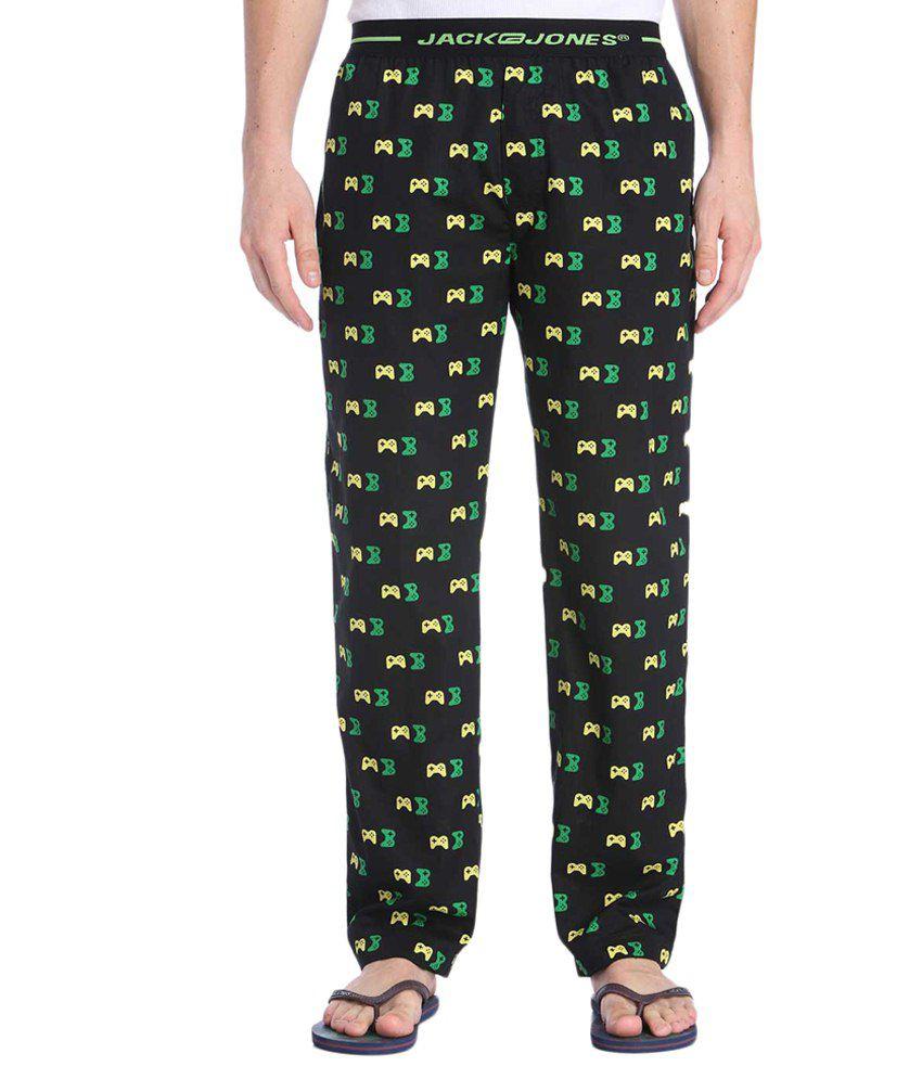 Jack & Jones Black & Green Printed Pyjamas