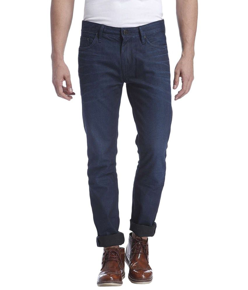Jack & Jones Blue Cotton Slim Fit Jeans