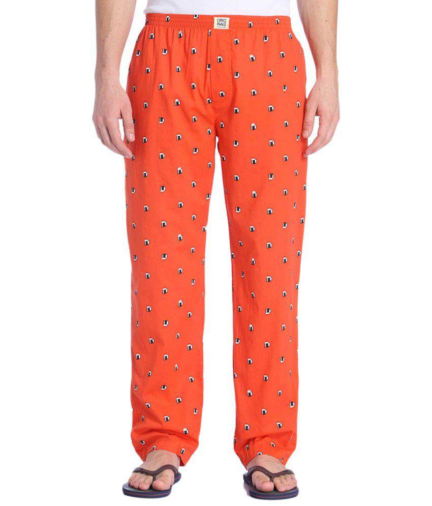 Jack & Jones Orange & Black Printed Pyjamas