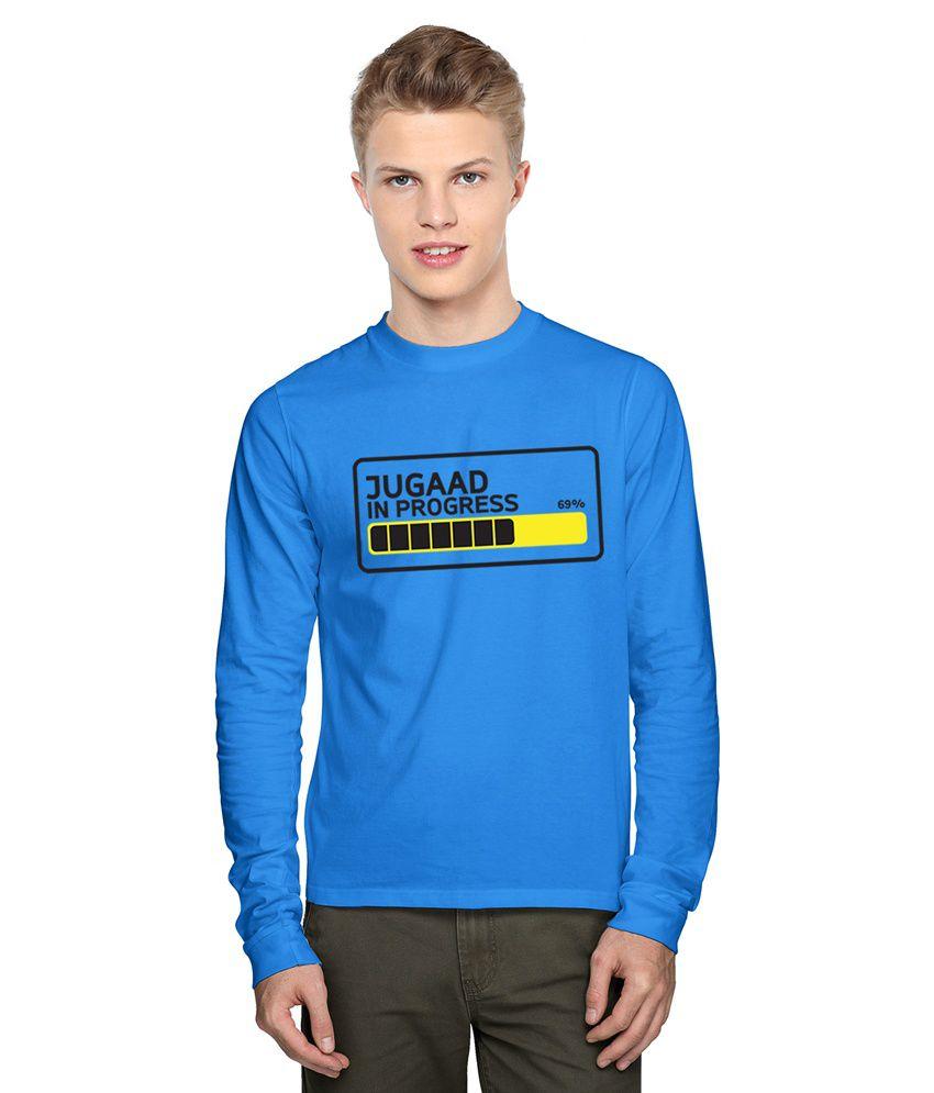 Wear Your Opinion Blue Cotton Blend T-Shirt