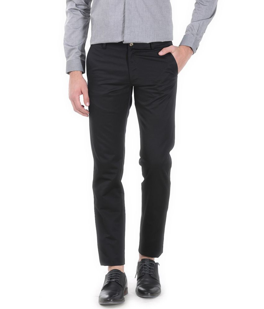 Basics Black Blended Cotton Chinos