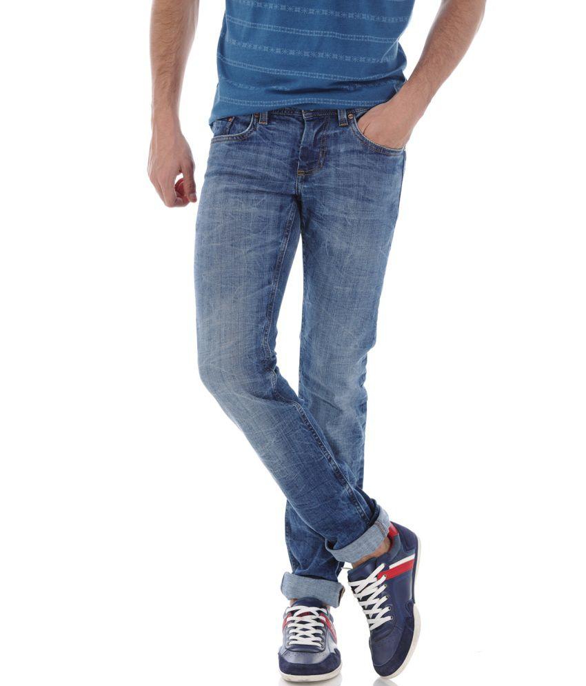 Basics Blue Blended Cotton Jeans