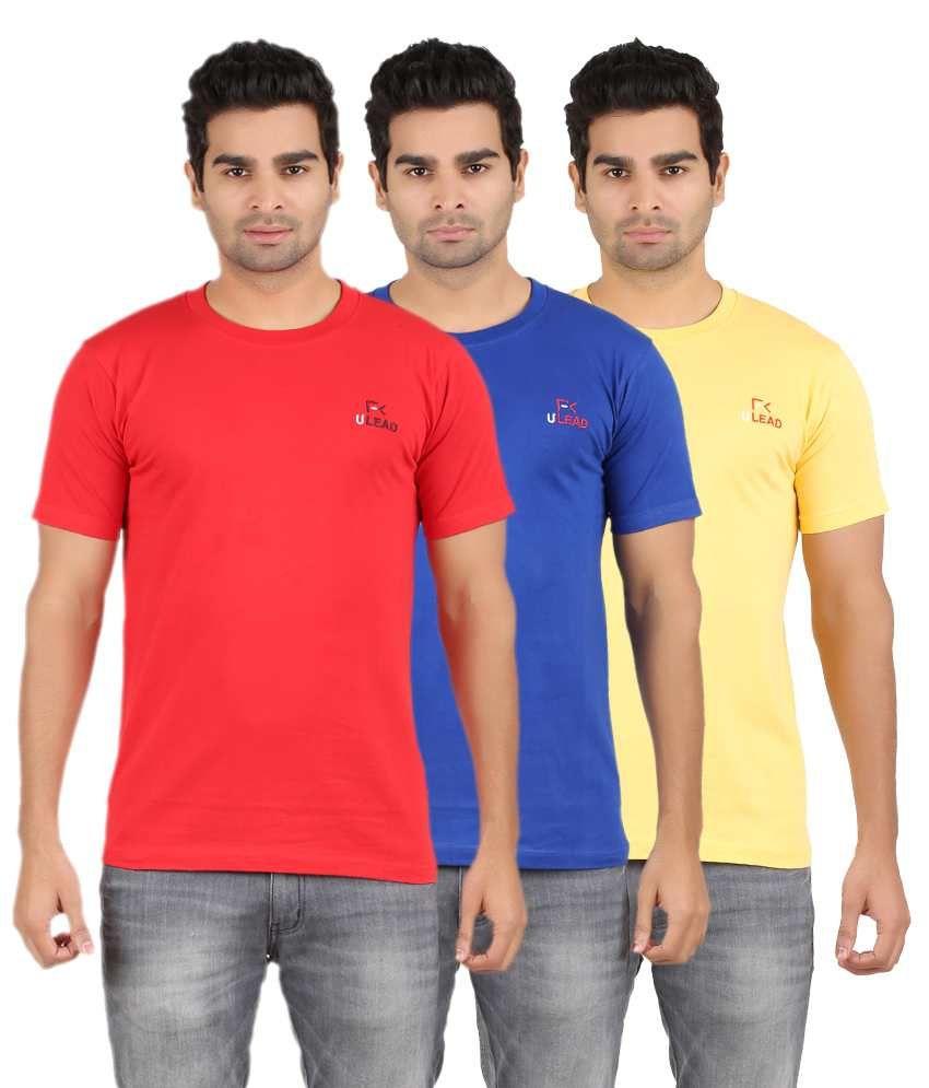 U Lead Multicolor Cotton T-Shirt - Pack of 3