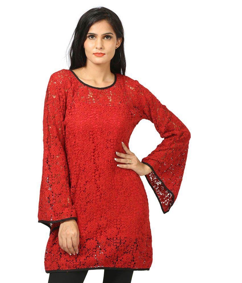 WRF Red Cotton Kurti