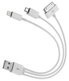 Click Away Micro USB Data Cable 3 in 1 USB Charger Cable for iPhone 4 - White