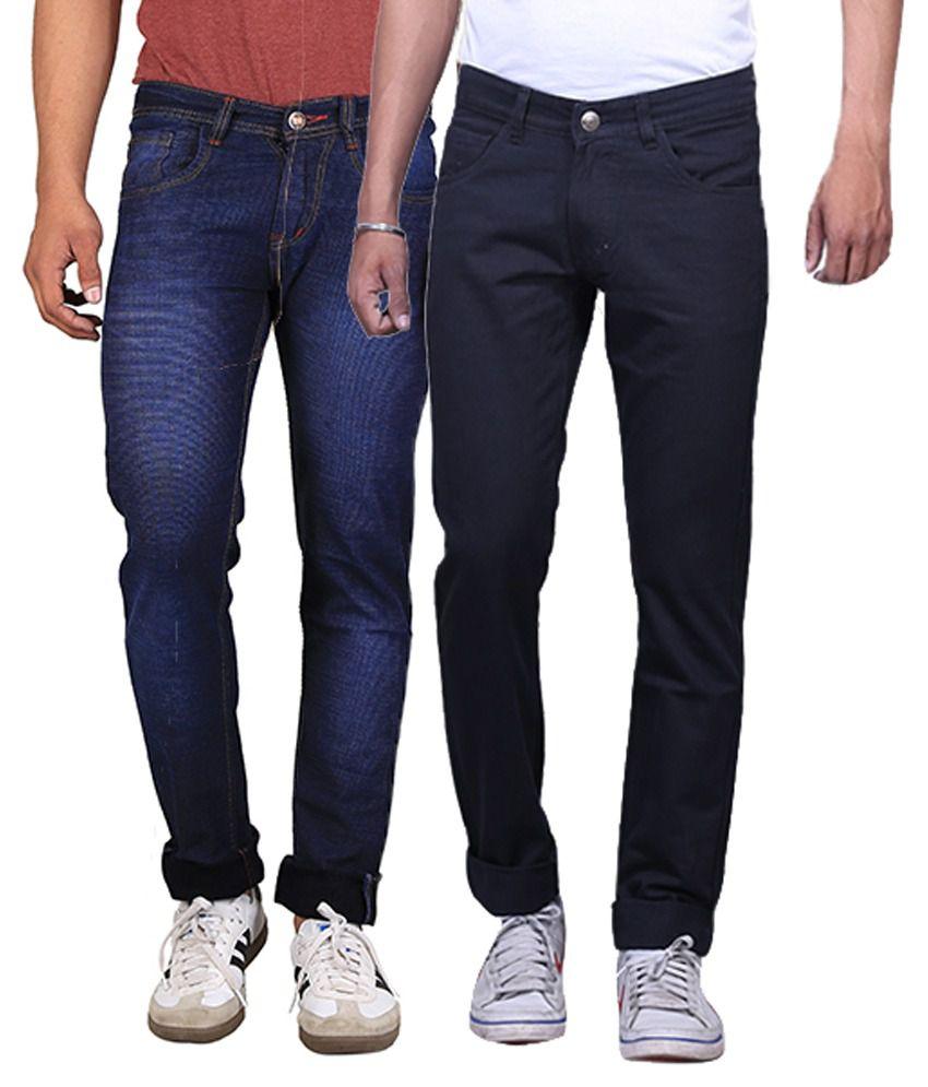 X-Cross Multicolor Slim Fit Jeans - Pack Of 2