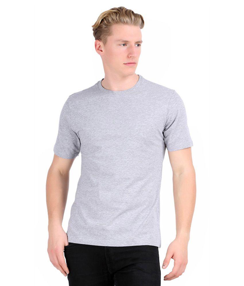 Alangar Silks And Readymades Grey Cotton T-shirt