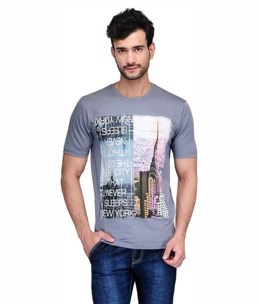 Ausy Grey Cotton Blend T-Shirt