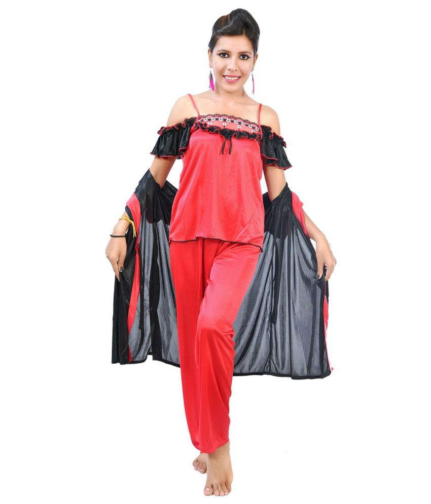 Fashion Zilla Red   Black Satin Shoulderless Night Suit Set 3b09666a1