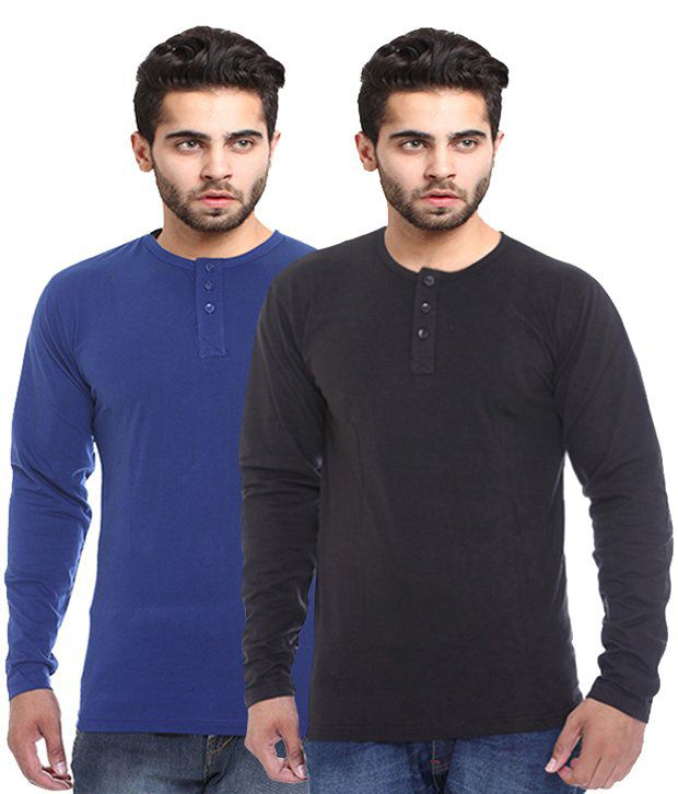 X-cross Blue Cotton T-Shirt - Pack of 2