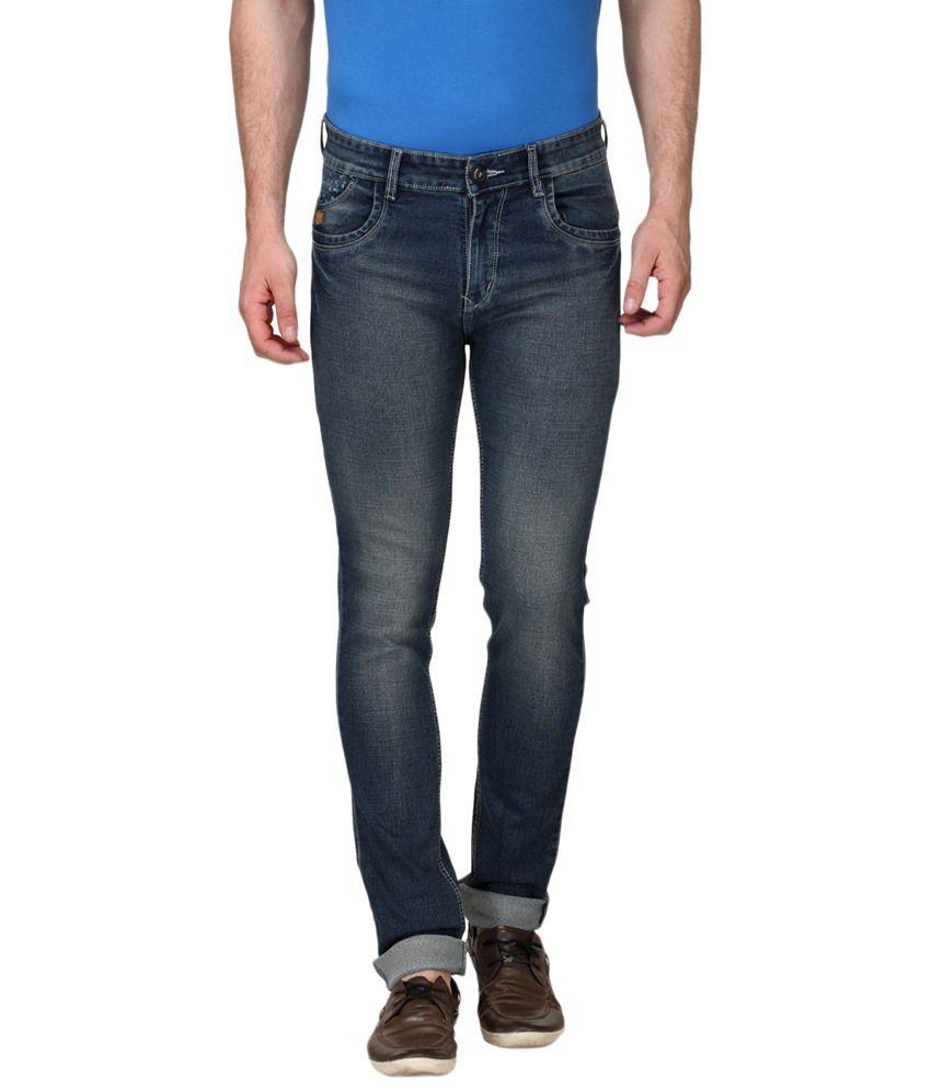 La Marino Blue Slim Fit Cotton Jeans