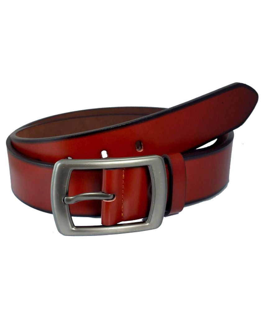 Ammvi Creations Terracota Brown PU Leather Belt For Men